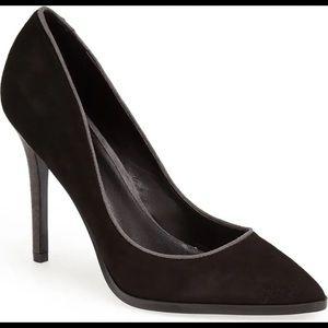 Charles David black suede pointy pumps heels shoes